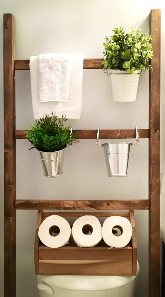 Throw Rustic Ladder Over The Toilet Storage Farmhouse Towel Rack