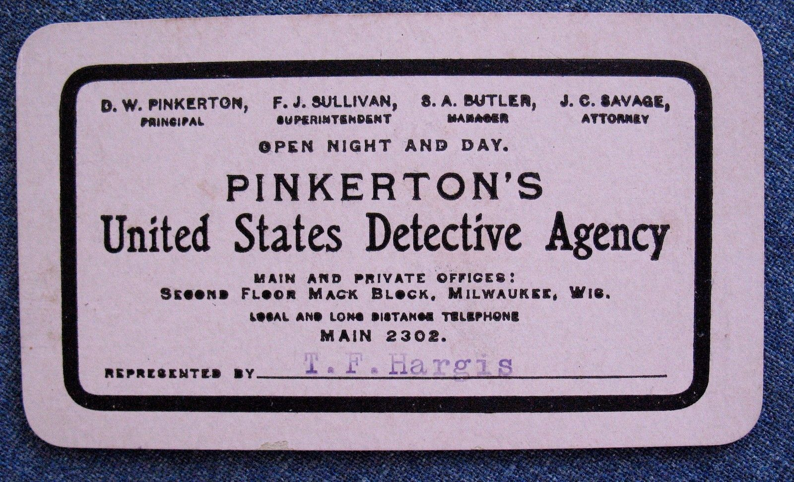 Pinkerton\'s U s Dectective Agency Business ID Card Milwaukee Wis Wi ...