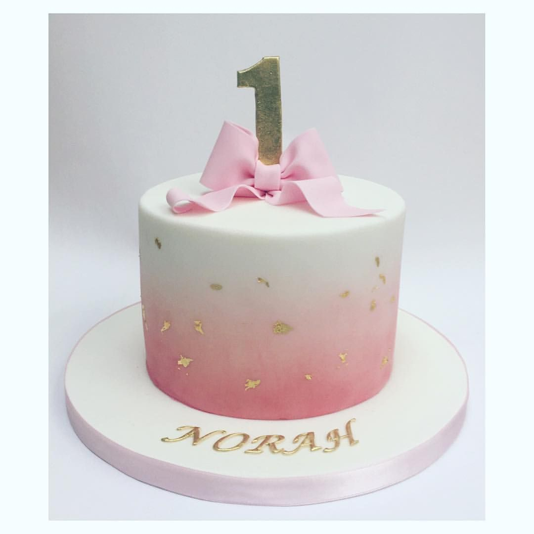 Simple And Beautiful Pink Fading Into White Coloured Icing With - Small first birthday cakes