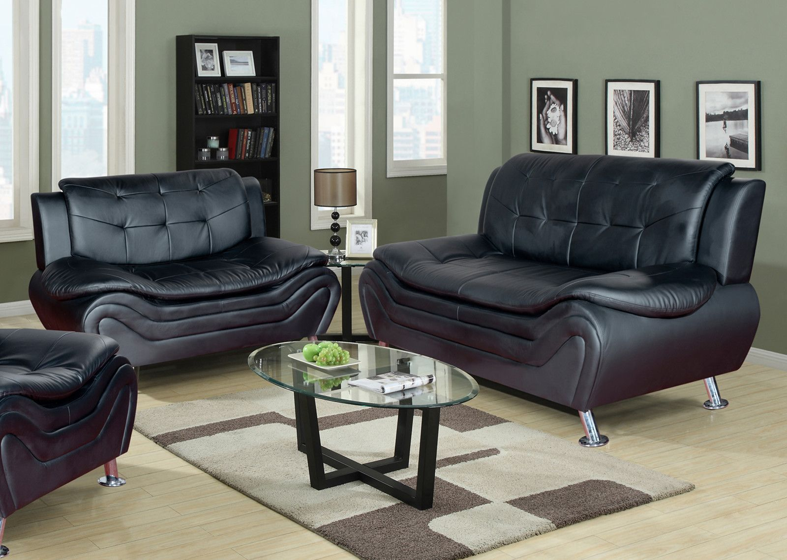 Best Amia 2 Piece Living Room Set Faux Leather Sofa Leather 400 x 300