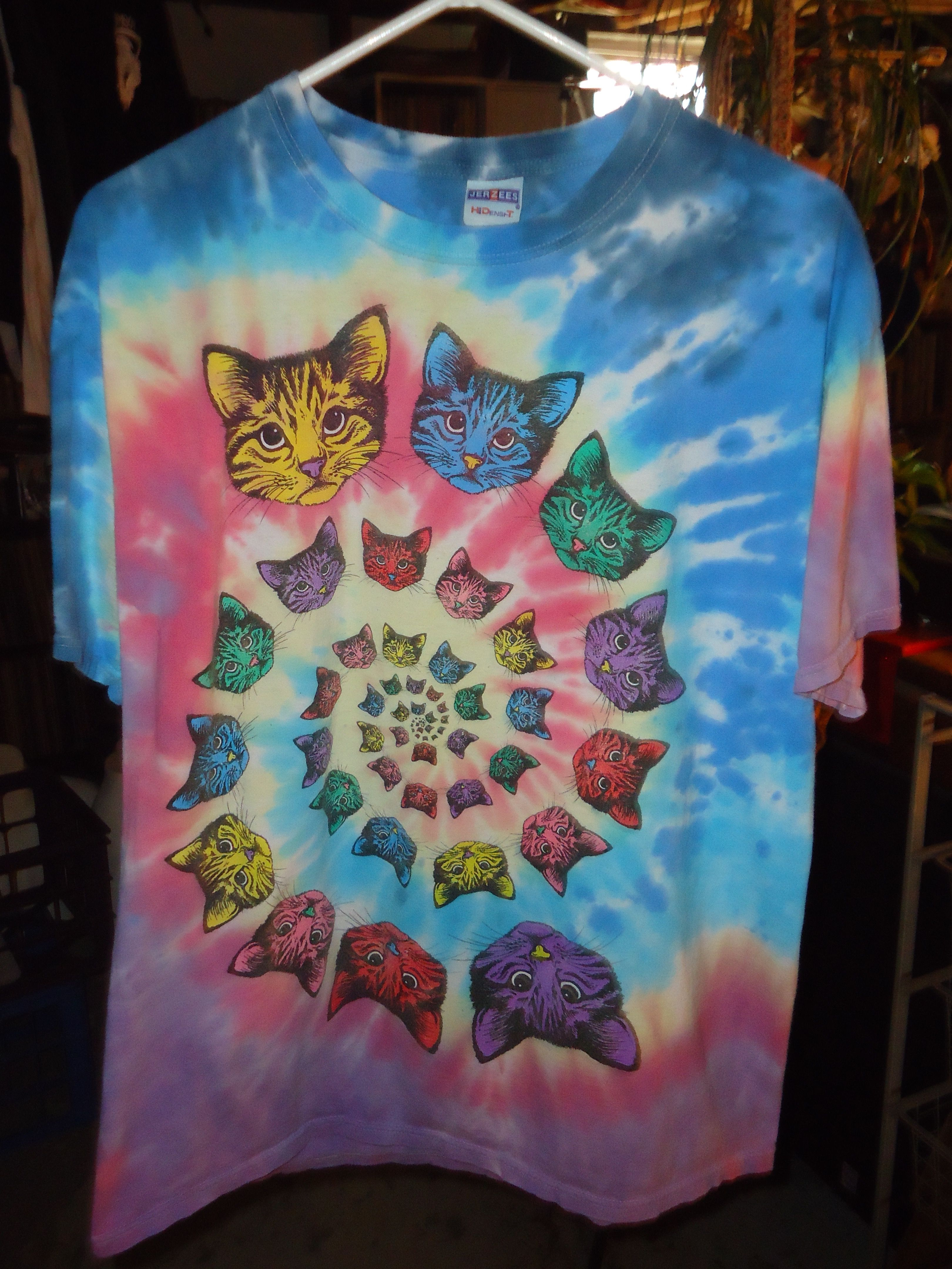 8e2bd0b9 Vintage - Psychedelic - Kitty Cat - Tie Dye - T-Shirt - Large - Jerzees