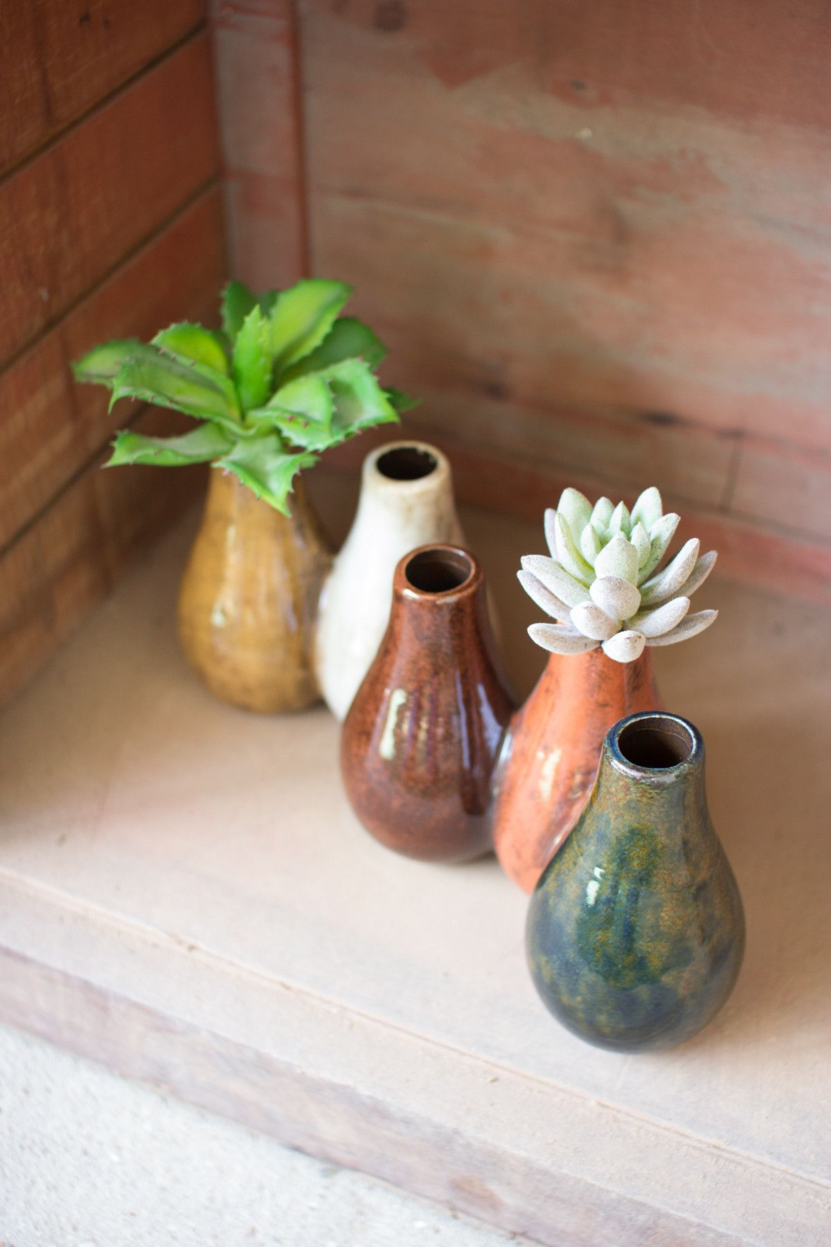 Kalalou Connected Ceramic Bud Vases Set Of 2 Bud vases