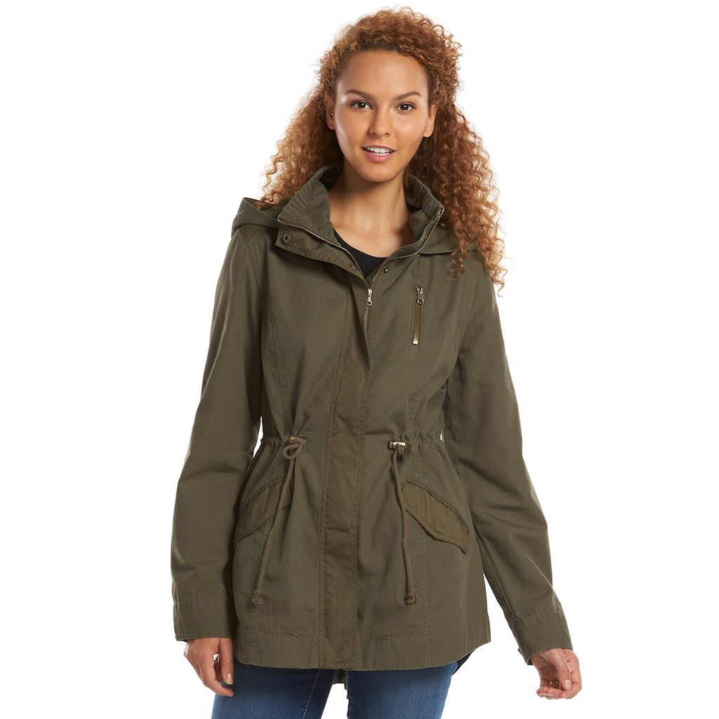b802844d846 Women s Plus Size Duo Front Pocket Button Snap Detail Stand Collar Utility  Anorak Jacket - Who What Wear Green 3X