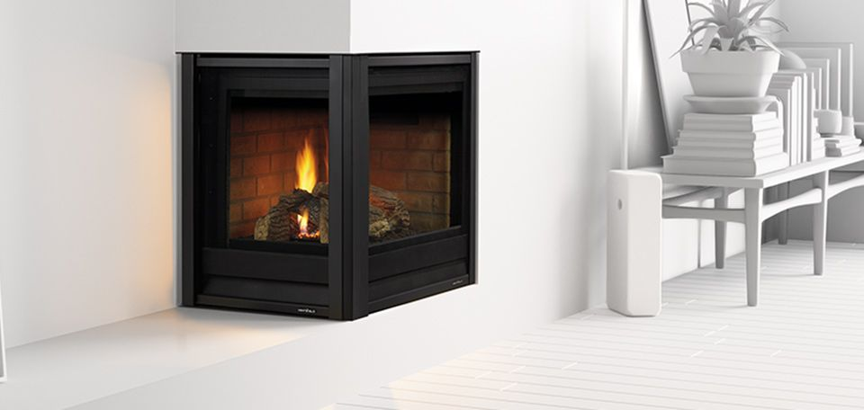 Corner Series Gas Fireplace shown with Folio front in