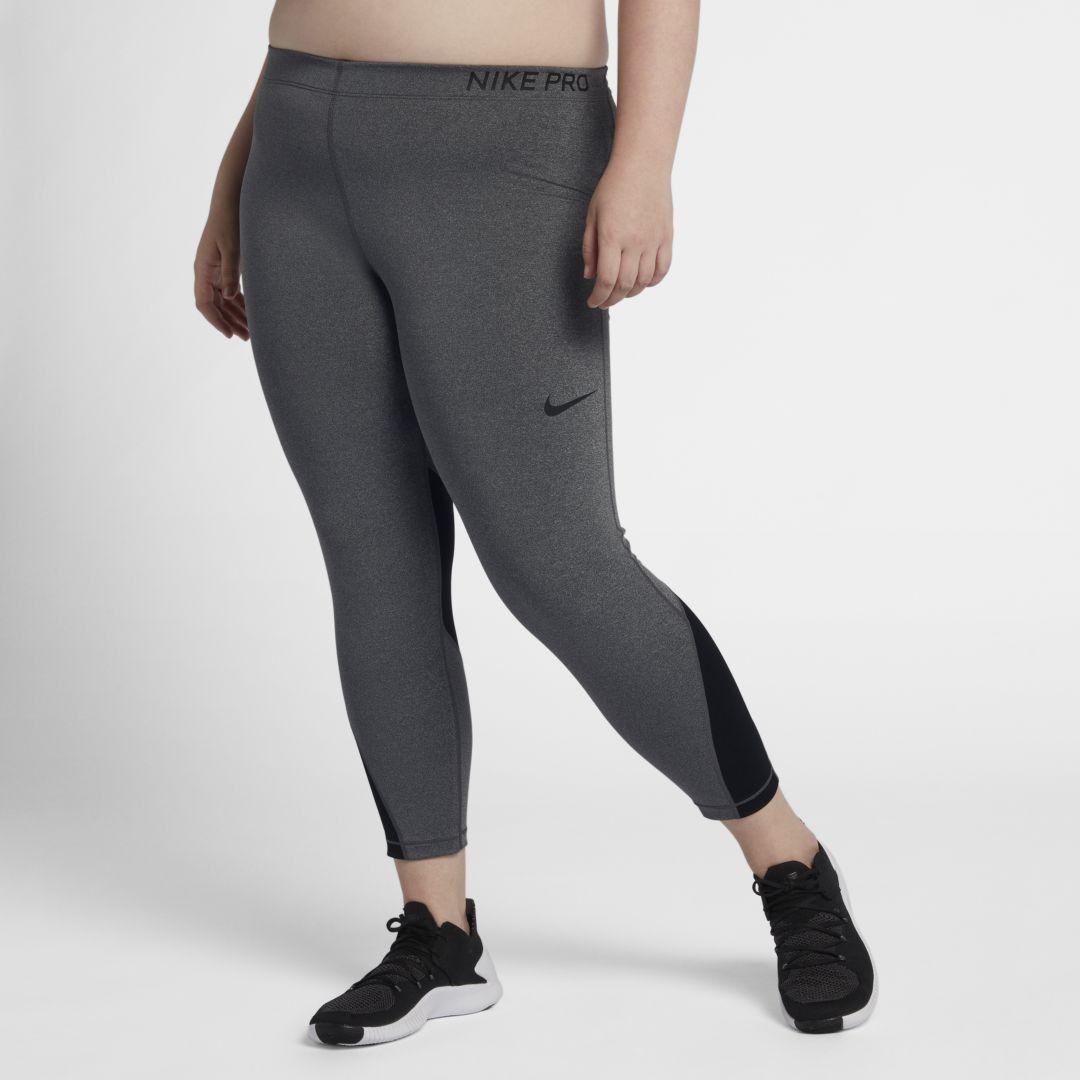 164cf1a6fec Nike Pro Women s Mid-Rise Training Capris (Plus Size) Size 3X (Charcoal  Heather)