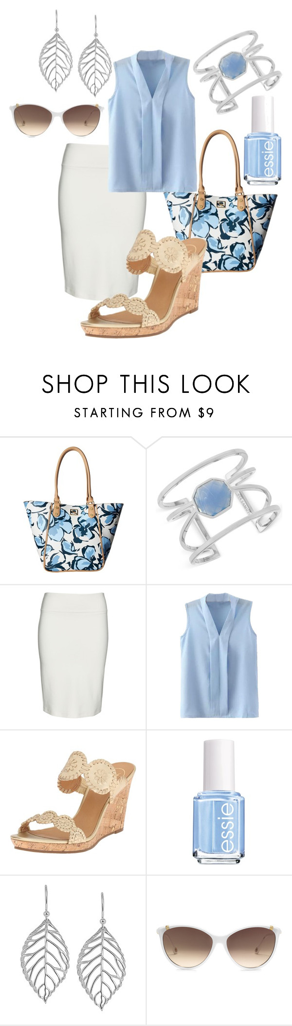 """Blue floral tote #981"" by highheelsandhotflashes ❤ liked on Polyvore featuring Emma Fox, Vince Camuto, Yoek, Jack Rogers, Essie, Jewel Exclusive and Michael Kors"