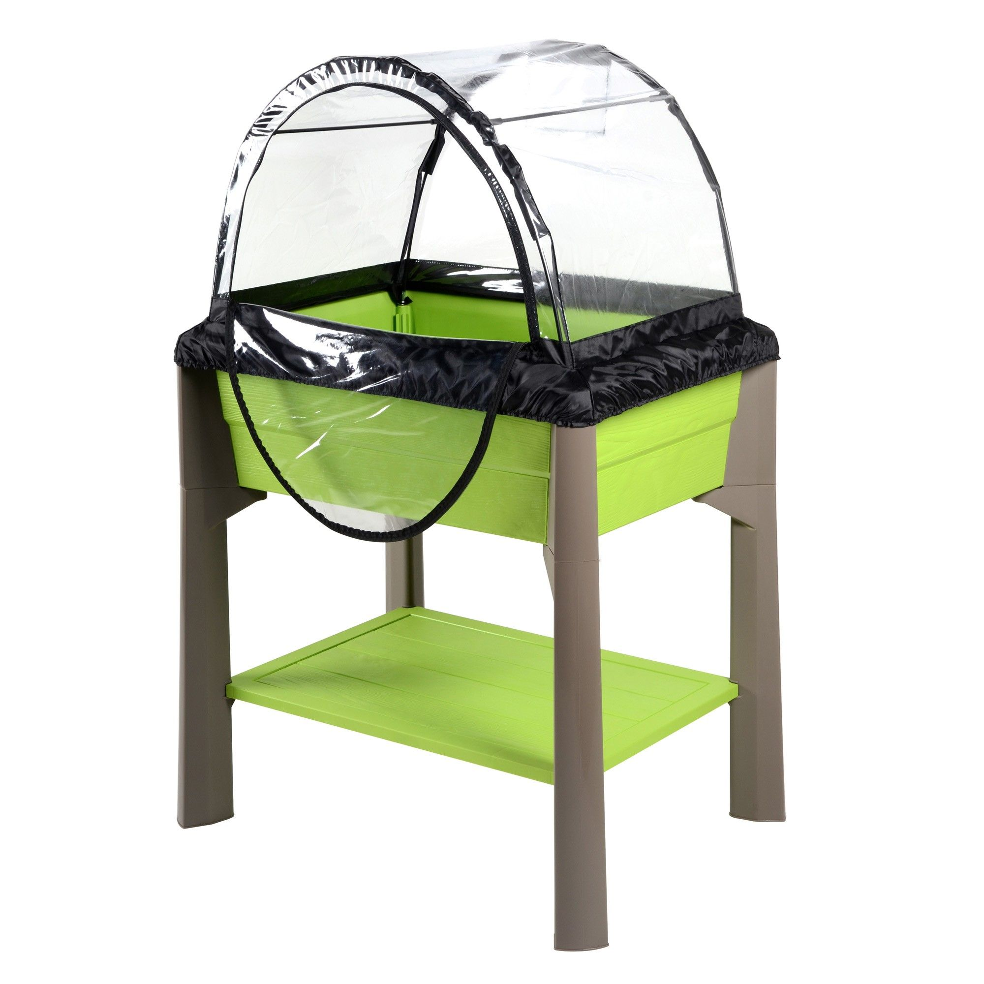 Espace Potager Veg Table Avec Serre Vert Pistache Taupe 79 X 59 X 80 Cm 67l Chambre De Culture Mini Serre De Jardin Serre De Jardin Polycarbonate