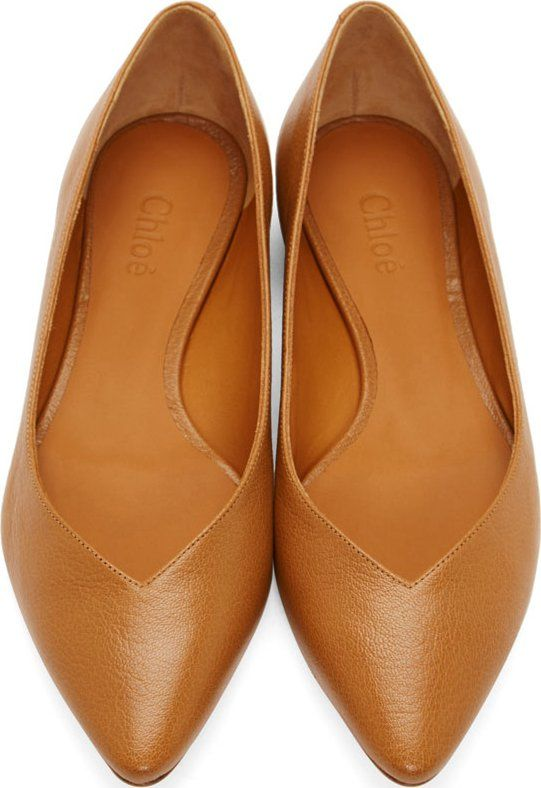 Chloe Cognac Leather Pointed Flats Pointed Flats Pointed Flats Shoes Pointed Toe Shoes