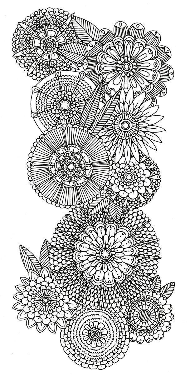 Abstract Doodle Flower Coloring Pages Colouring Adult Detailed Advanced Printable Kleuren Voor