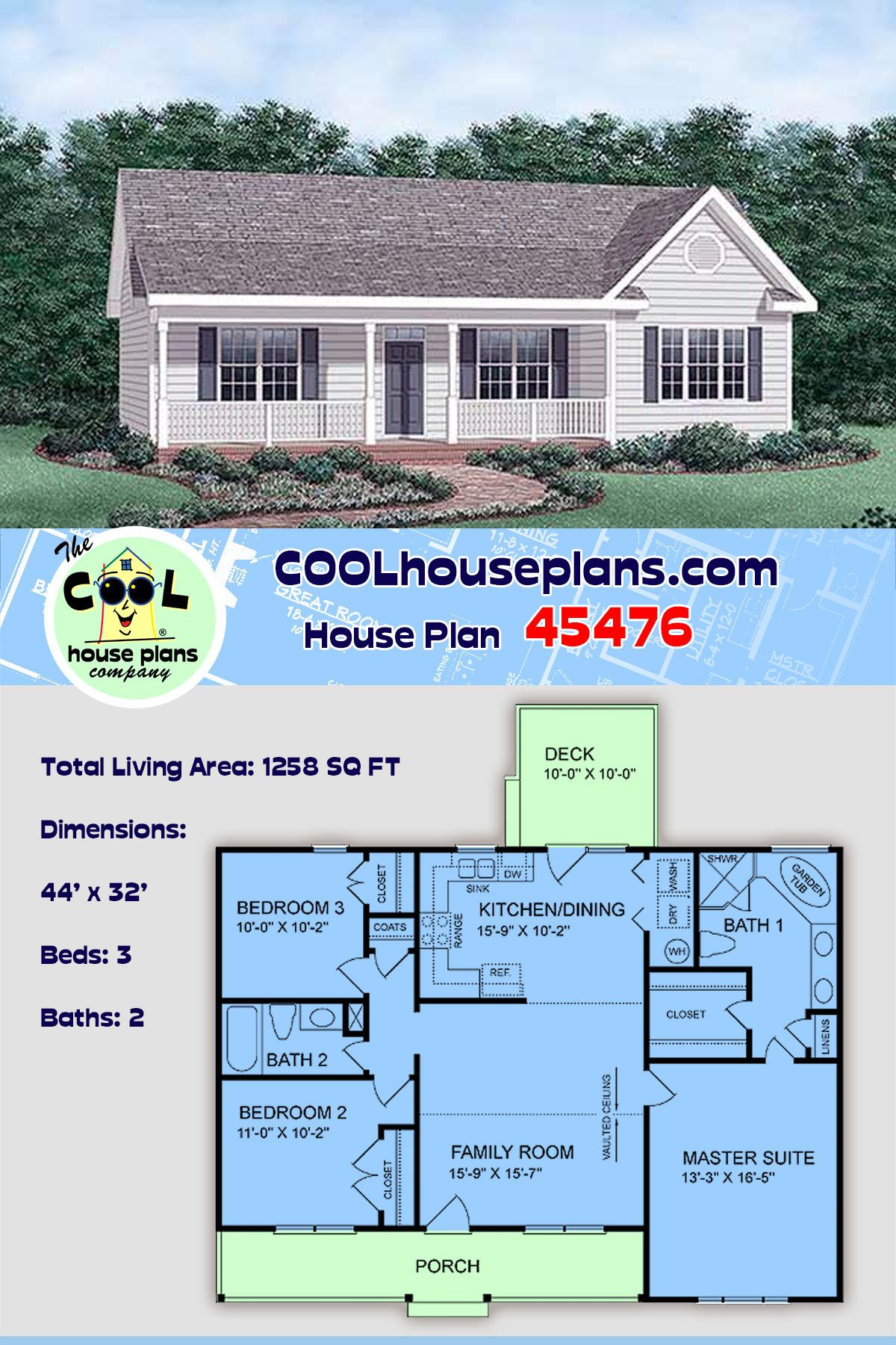 Traditional Style House Plan 45476 With 3 Bed 2 Bath Best House Plans Affordable House Plans House Plans
