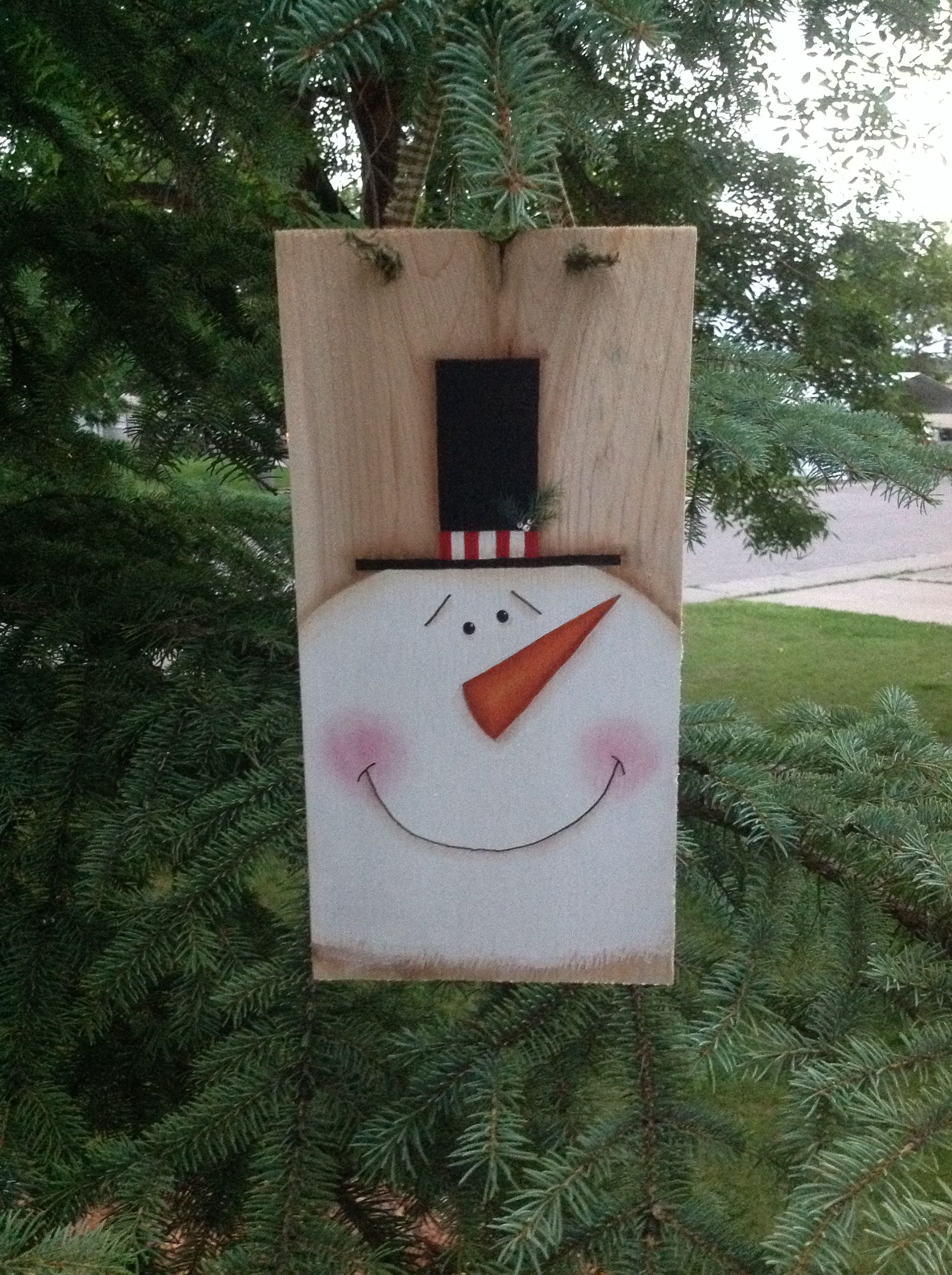 Snowman Painted On A Cedar Shake Snowman Painting