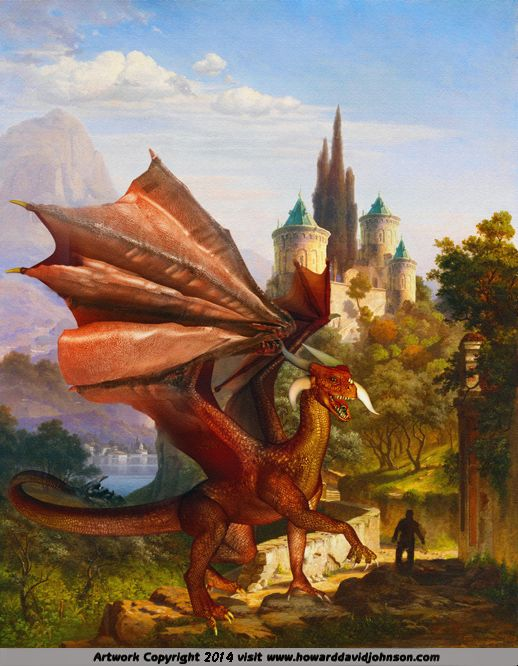"""HOW THE DRAGON WAS TRICKED BY VASSILISSA LA BELLE The Fairy Tale Art of Howard David Johnmson; Contemporary fairy tale and story book illustrations."""""""