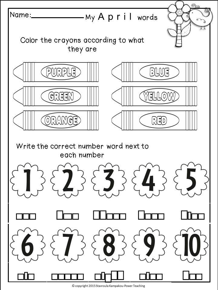 April Homework for Kindergarten-Literacy and Math   Morning work ...