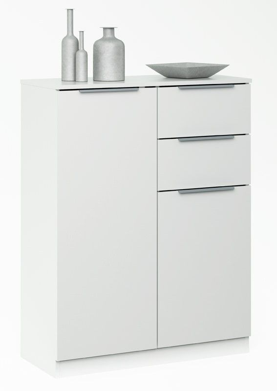 Chest Skænk - Høj skænk i hvid med 2 skabslåger og 2 - eckschrank weis wohnzimmer