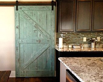 Sale Sliding Barn Door Reclaimed Pine Turquoise White Distressed Finish 36 X 80 Barn Door Barn Doors Sliding Sliding Barn Door