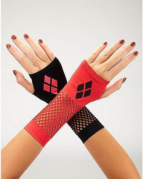 74f3d13a5840 Mismatched Harley Quinn Gloves - Batman - Spencer s