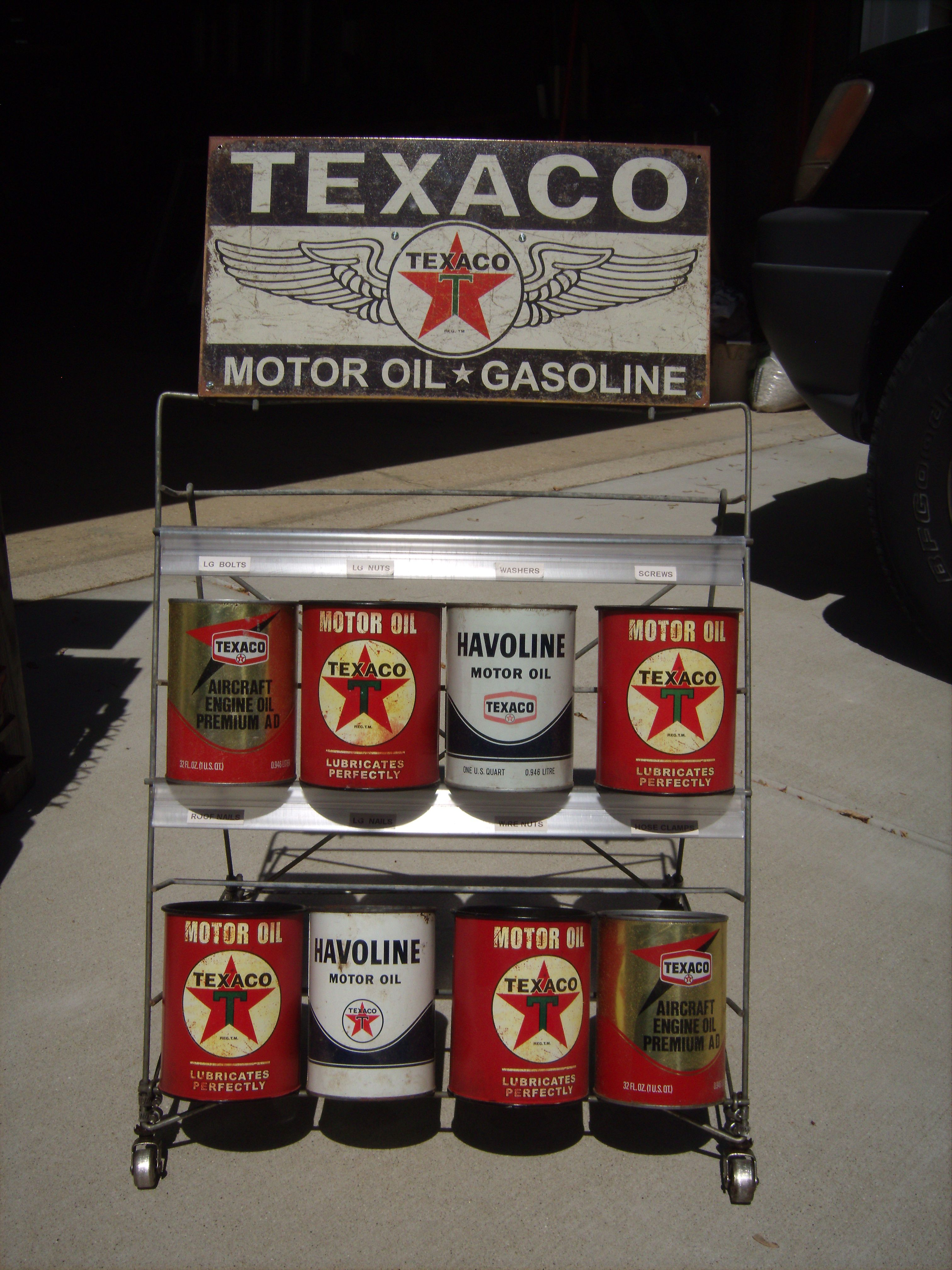 Texaco Functional Storage Rack 1950 S Texaco Oil Can Rack