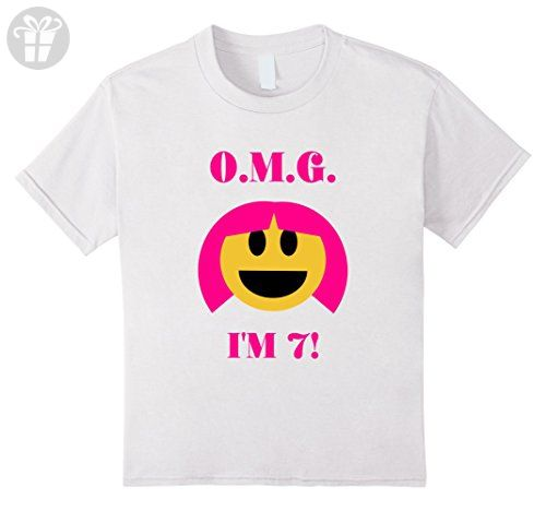 Kids OMG Im 7 Happy Birthday Emoji Year Old Girl T Shirt 12 White