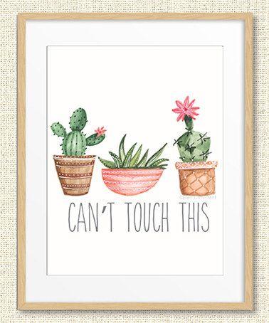 ellen crimi-trent green cactus 'can't touch this' print