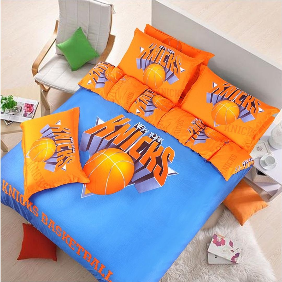 Amazing New York Knicks Basketball Bedding Set Specially Made For Die Hard New York  Knick Team Lovers. 100% Cotton 4pcs Bed Set Guaranteed Against Fading.