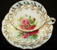 EB FOLEY ENGLAND PINK RED ROSES GOLD BLUE WIDE TEA CUP AND SAUCER
