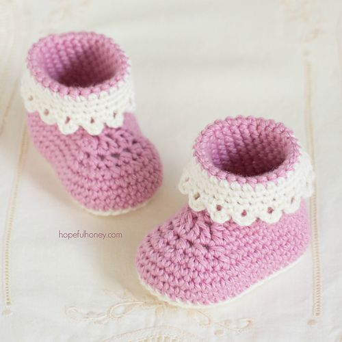 Ravelry: Pink Lady Baby Booties pattern by Olivia Kent | Crochet ...