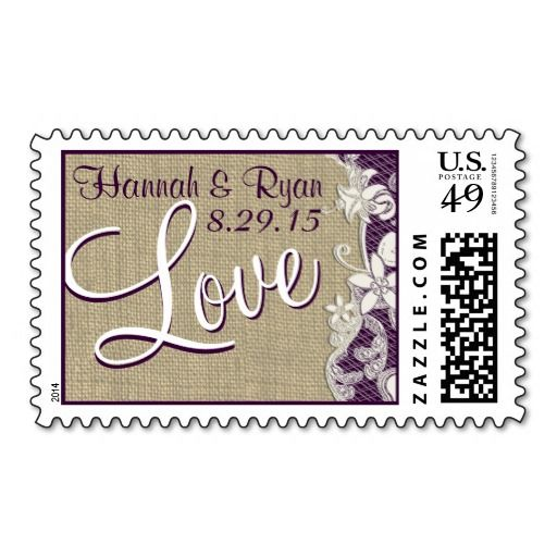 Burlap and Lace Design Love Purple Stamp