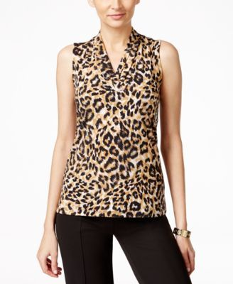 be722cc2e8a4d Anne Klein Animal-Print Pleat-Neck Top  24.99 Spice up your workweek appeal  with this animal printed shell from Anne Klein