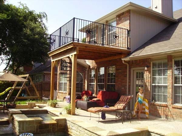 16 Ways To Customize Your Deck Upstairs Deck Ideas Balcony Addition High Deck
