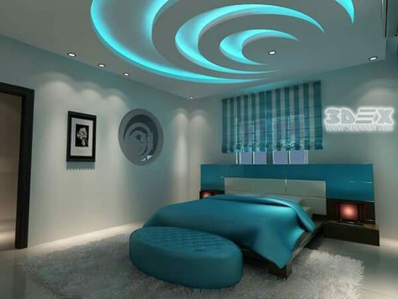 Modern Gypsum Board False Ceiling Design For Bedrooms With Colored Ceiling  LED Lights If You Are