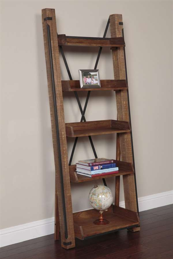 American Furniture Classics Industrial Open Shelf Ladder Bookcase, model 33200 is part of Industrial Living Room Storage - Add old centuries charm to any room with this industrial open shelf rack  The rough sawn wood combined with industrial metal fittings add the charm of centuries gone by  This rack features five shelves with a metal Xback support for all your favorite collectibles  Roughsawn ecofriendly Paulownia lumber Industrial metal fittings 5 useful shelves X back support Shelves measure 26 W x 9,10,11 5,13,15 5 W x 3 H