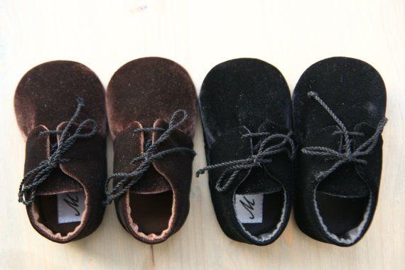 BROWN or BLACK velvet baby boy shoes