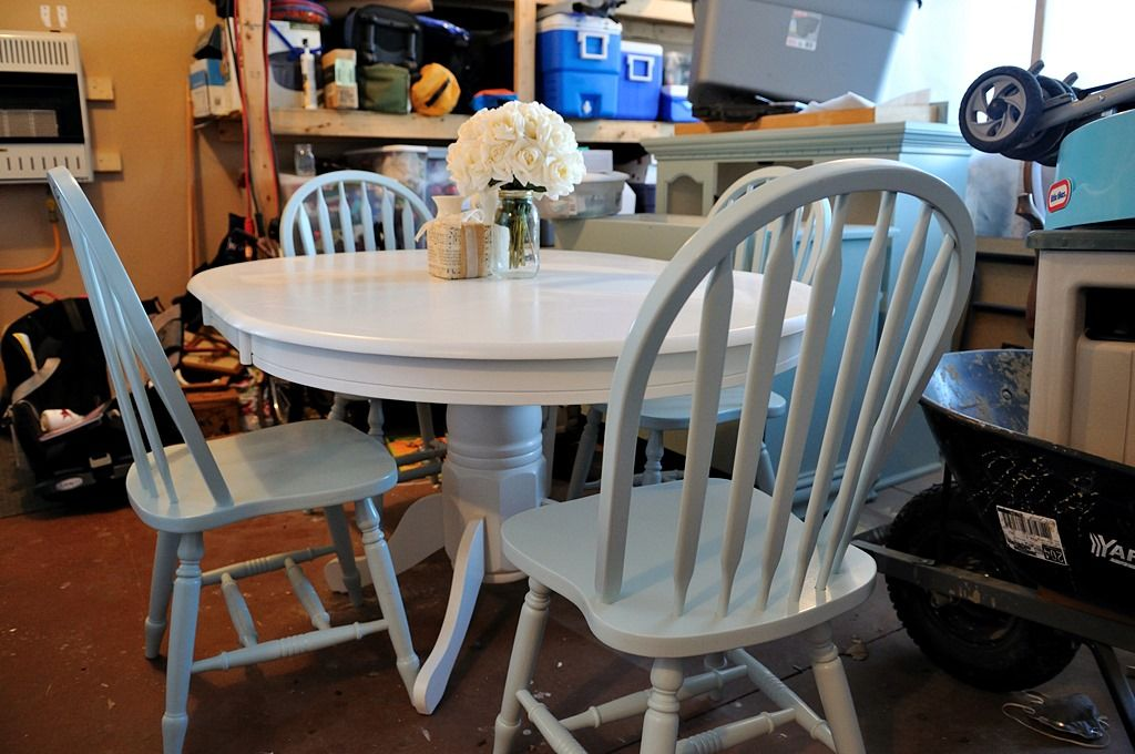 White Pedestal Table with Duck Egg Blue Chairs | Painted ...