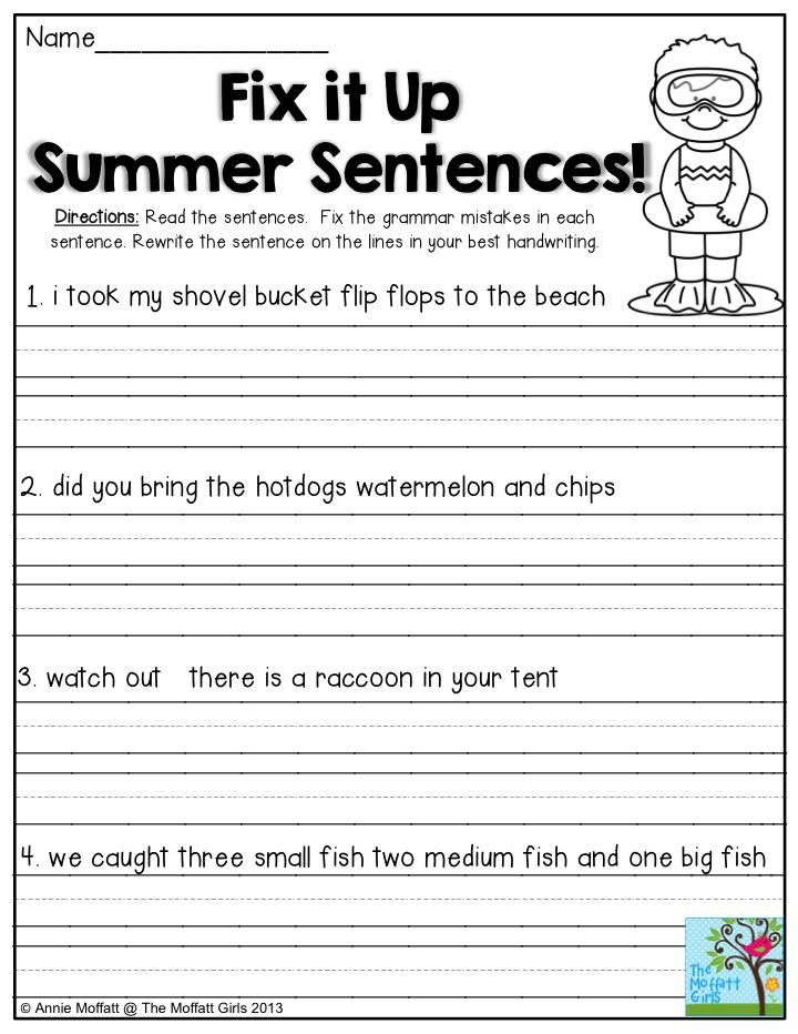 fix it up summer sentences find the mistakes in the sentences and write the sentences correctly. Black Bedroom Furniture Sets. Home Design Ideas
