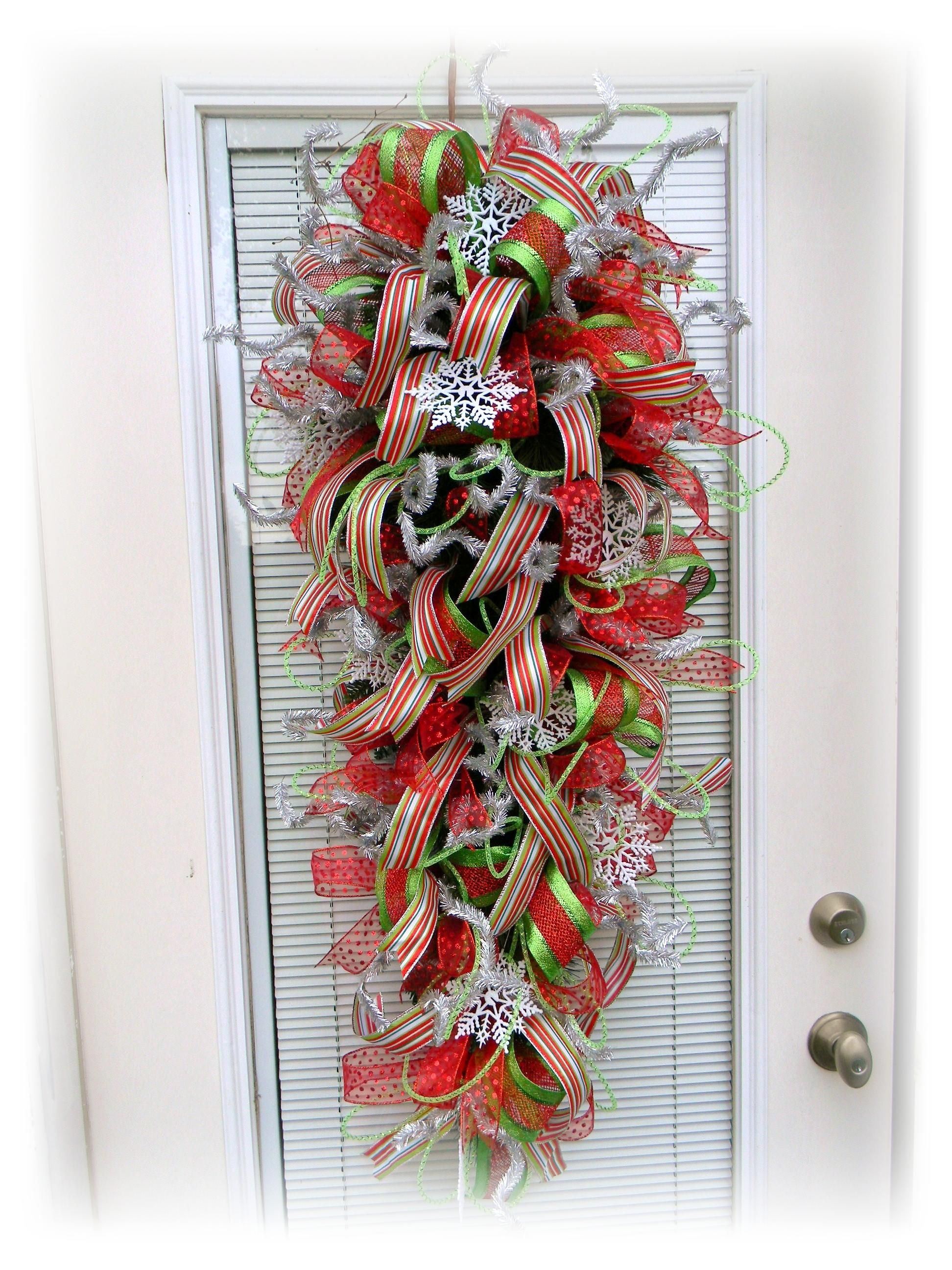 Red Lime Silver and White Christmas Door Swag By
