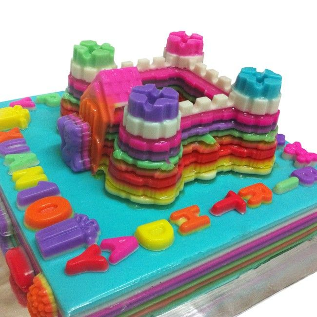 kid castle birthday jelly cake made with multi flavour jelly and coconut - Multi Castle Ideas