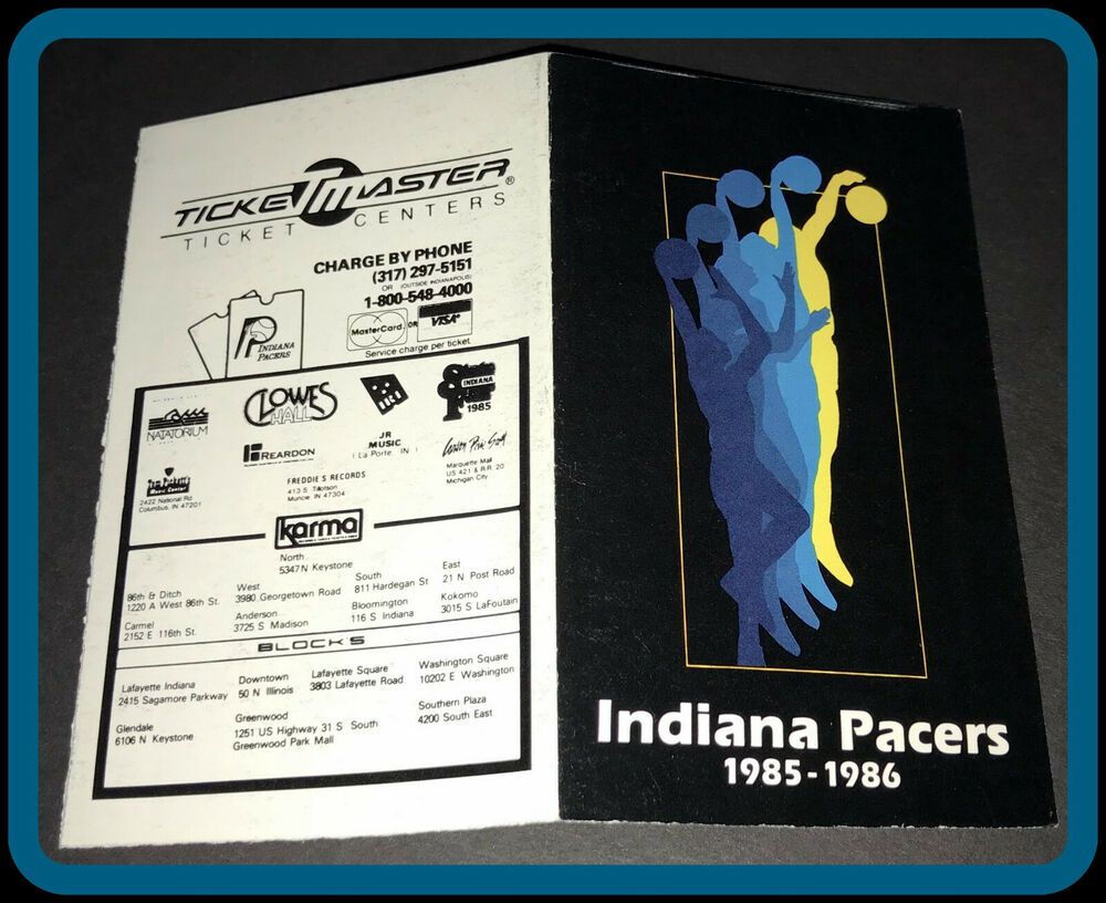 198586 INDIANA PACERS TICKETMASTER BASKETBALL POCKET