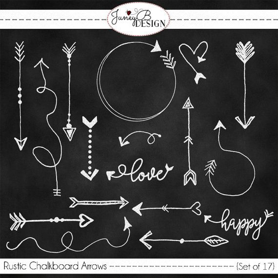 Rustic Chalkboard Arrows Hand Drawn Set Of Arrow Clipart Art
