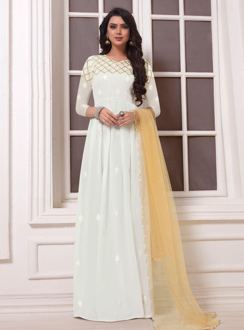 550b70c754 Buy White Georgette Anarkali Suit 142851 online at lowest price from huge  collection of salwar kameez at Indianclothstore.com.