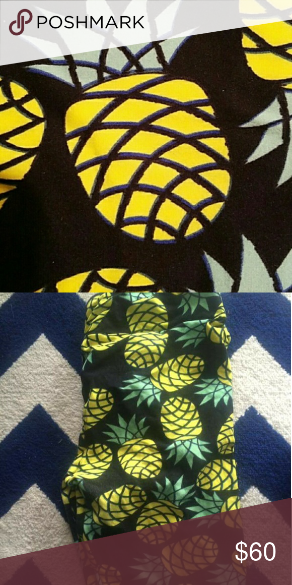 TC Pineapple Leggings GUC Pineapple leggings  LulaRoe Size TC Good used condition - the soft fabric on these does show a little wear, only because of the nature of the fabric - which you can see in the pictures Worn two times Unique & Hard to find unicorn pair Pineapple print LuLaRoe Pants Leggings