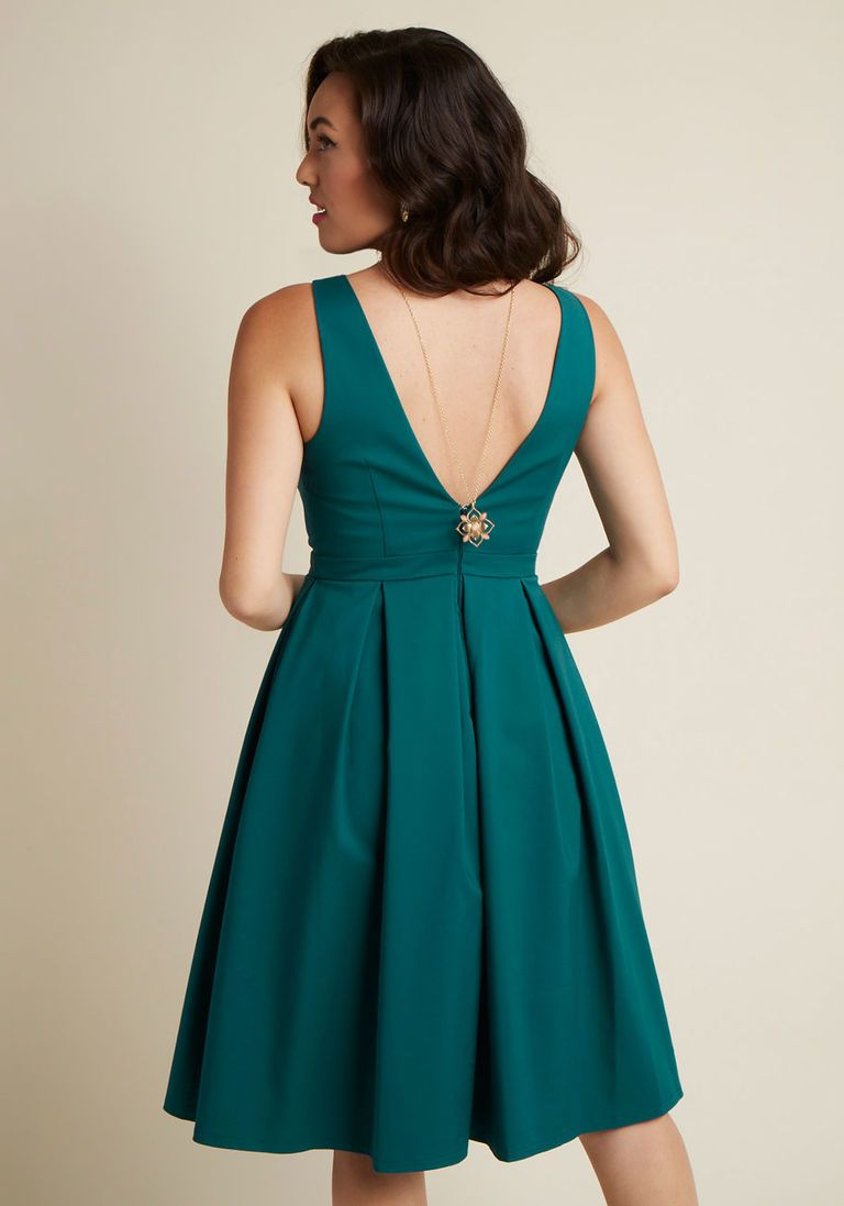 High-Neck Pleated Fit and Flare Dress | ModCloth