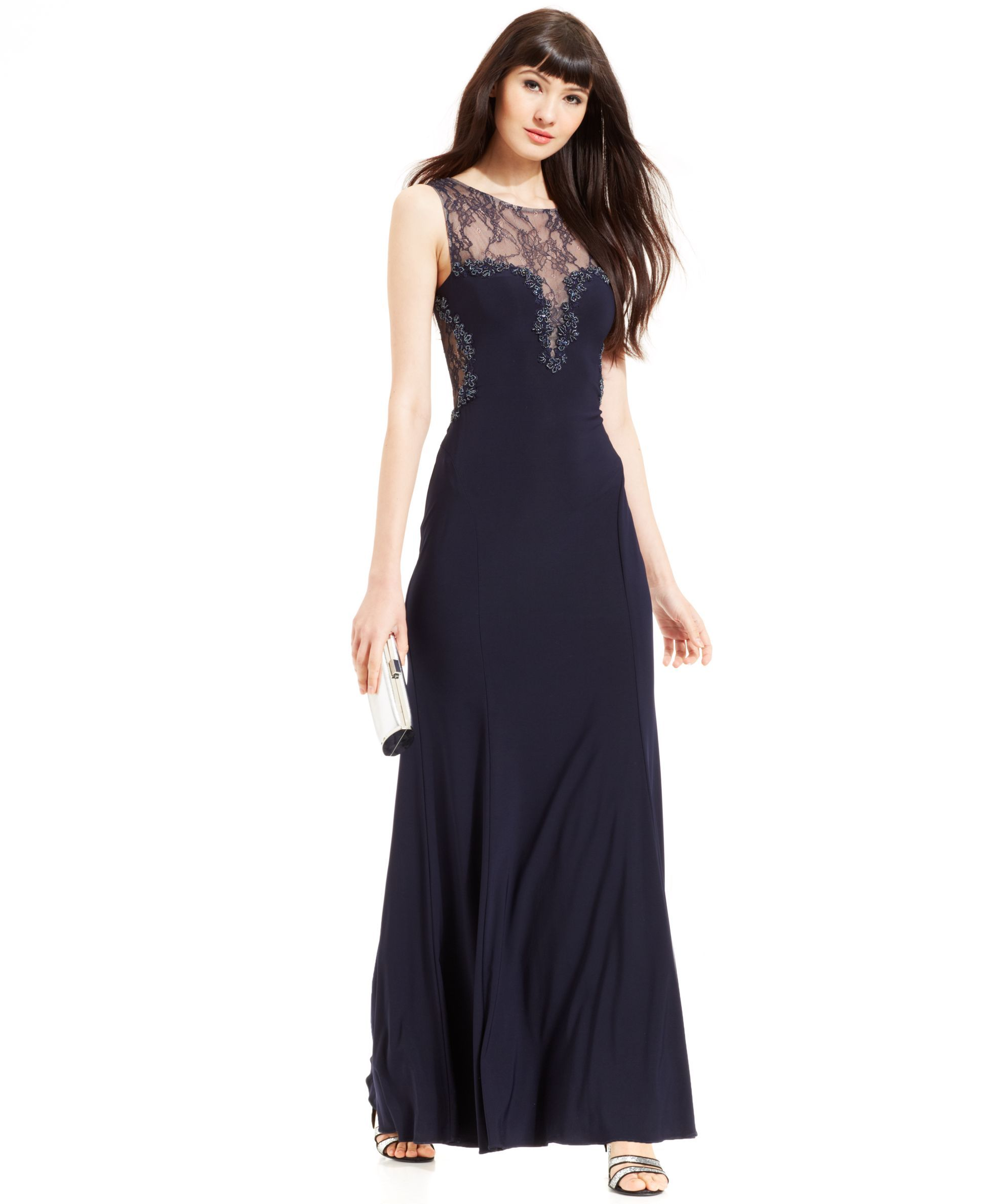 Xscape sleeveless beaded illusion lace gown tabitha star