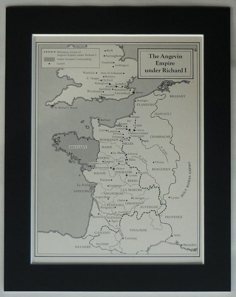 Map Of Poitiers%0A Vintage mounted print of the Angevin Empire during the reign of King  Richard I Historical map
