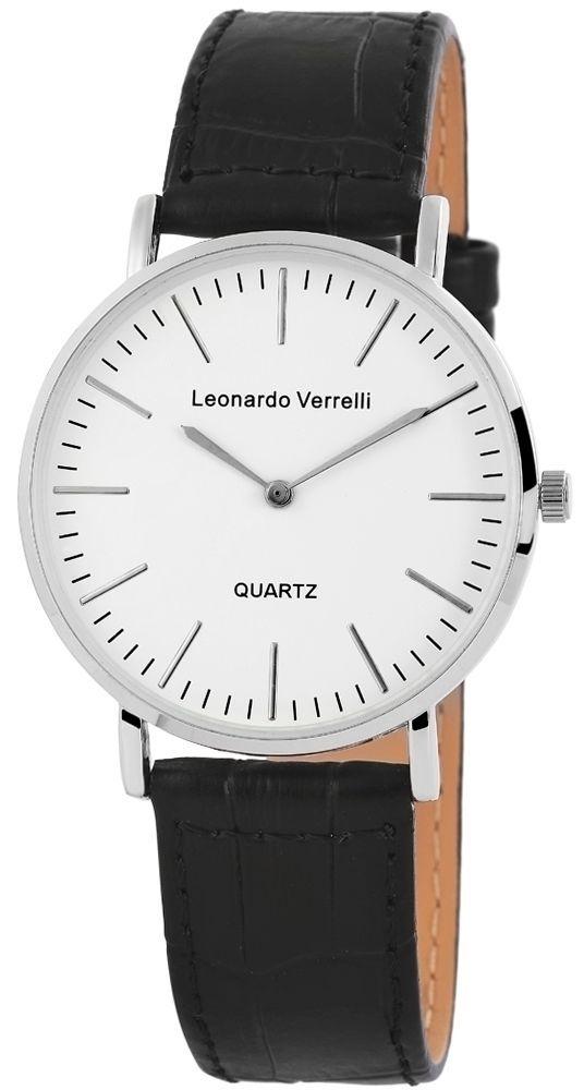 Leonardo Verrelli Uhr Leder Schwarz Geschenkidee Silber Damenuhr Herrenuhr