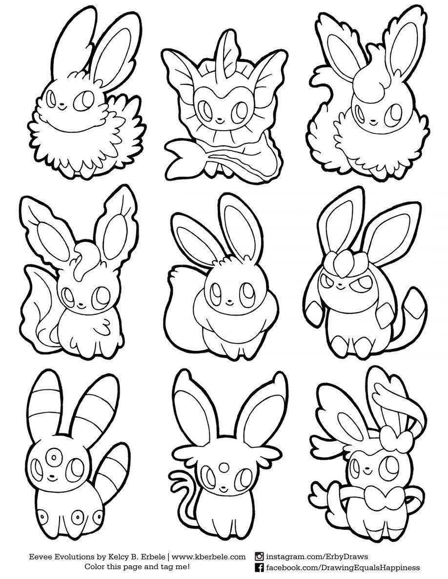 Coloring Eevee Evolutions Coloring Pages Printable Eevee