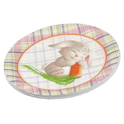 Hoppy happy easter bunny stripes and plaid pattern paper plate negle Image collections
