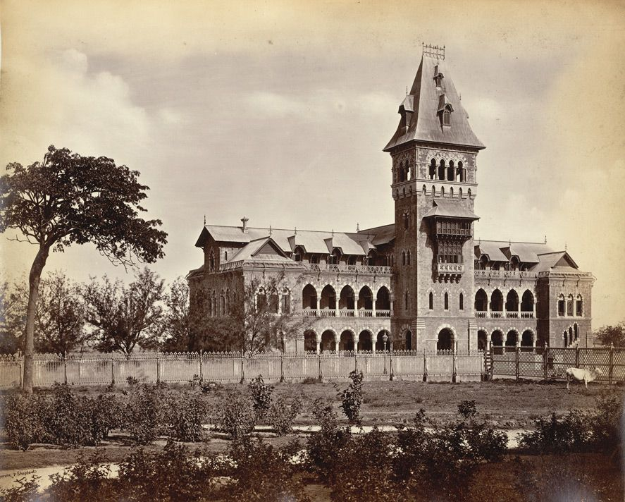 Elphestone college in 1860s, now this building converted into Central Railway Hospital Byculla.