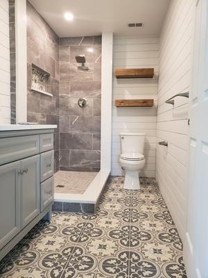 small bathroom remodel tile floor