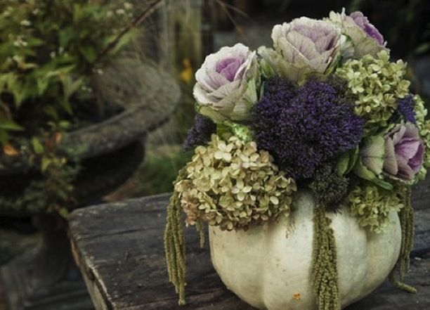 Fall floral arrangements carved pumpkin painted white and