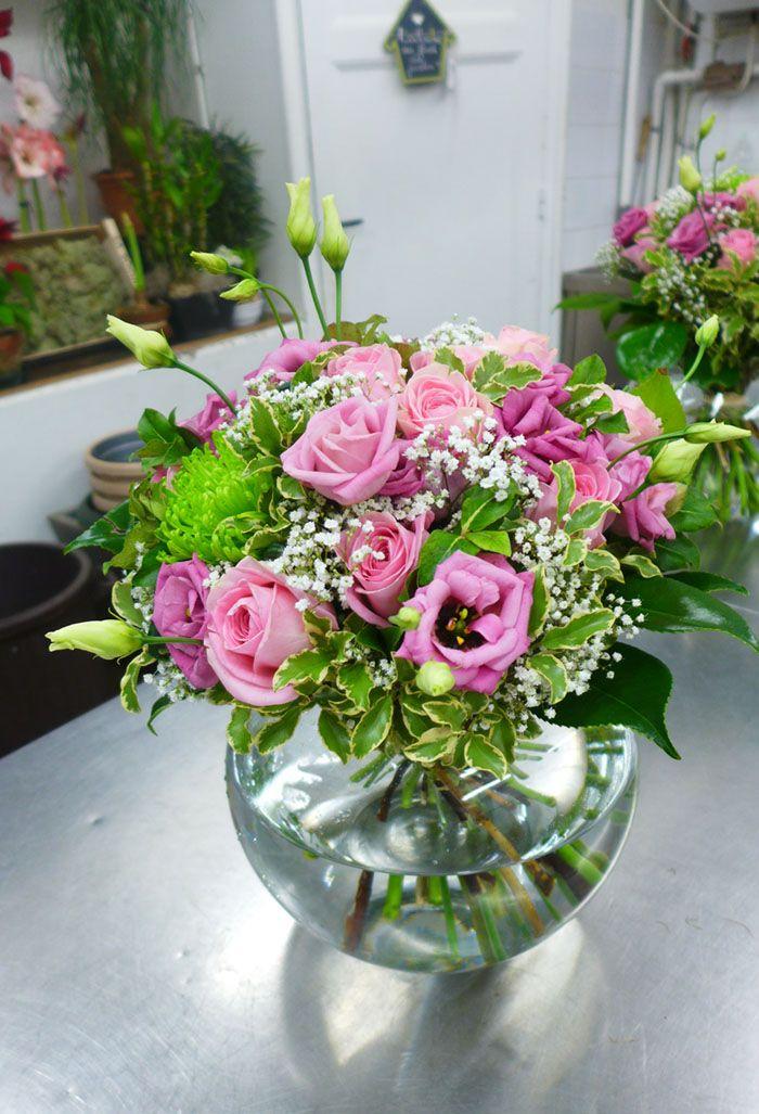 Superbes Bouquets Printaniers En Vert Et Rose Livraison Fleurs